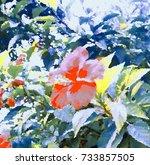 floral watercolor texture...   Shutterstock . vector #733857505