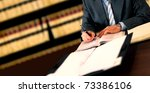 Businessman writing - stock photo