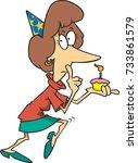 cartoon woman holding a cupcake ... | Shutterstock .eps vector #733861579