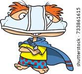 cartoon super kid with... | Shutterstock .eps vector #733861615