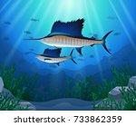 sailfish swimming under water... | Shutterstock . vector #733862359