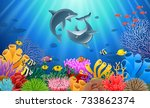 cartoon dolphin with coral reef ... | Shutterstock .eps vector #733862374