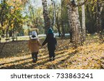 two baby boy playing in autumn... | Shutterstock . vector #733863241