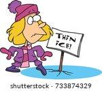 cartoon girl stepping onto thin ... | Shutterstock .eps vector #733874329