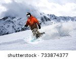 winter skier and mountains  | Shutterstock . vector #733874377