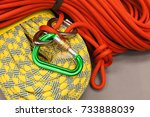 red and yellow dynamic ropes... | Shutterstock . vector #733888039