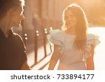 happy couple walks around the... | Shutterstock . vector #733894177