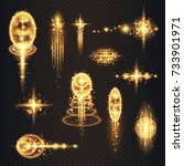 golden glittering stars. bokeh... | Shutterstock .eps vector #733901971