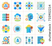 flat icon set of data science... | Shutterstock .eps vector #733902214