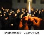 the candle of hope | Shutterstock . vector #733904425