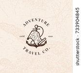 anchor logo with treasure map... | Shutterstock . vector #733904845