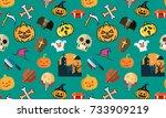 seamless halloween pattern on... | Shutterstock . vector #733909219