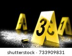 evidence markers on the floor /high contrast image - stock photo