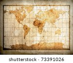 world map on old brown paper... | Shutterstock . vector #73391026