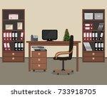 workplace of office worker.... | Shutterstock . vector #733918705