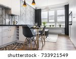 modern small room with  kitchen ... | Shutterstock . vector #733921549
