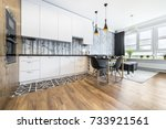 modern small room with  kitchen ... | Shutterstock . vector #733921561