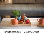 autumn mood at home. living... | Shutterstock . vector #733922905