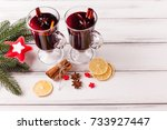 mulled wine banner with glasses ... | Shutterstock . vector #733927447