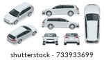 vector hatchback car. compact... | Shutterstock .eps vector #733933699