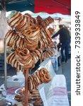 Small photo of closeup of bretzels at alsatian market