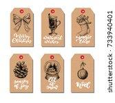 christmas vintage gift tags set ... | Shutterstock .eps vector #733940401