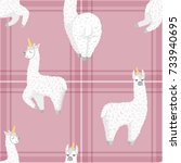 seamless pattern with cute... | Shutterstock .eps vector #733940695