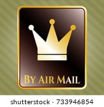 gold shiny badge with crown... | Shutterstock .eps vector #733946854