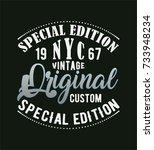 vintage  new york  typography ... | Shutterstock .eps vector #733948234