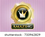 shiny emblem with crown icon... | Shutterstock .eps vector #733962829