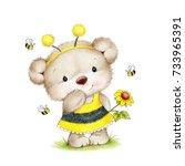 cute teddy bear in bee costume    Shutterstock . vector #733965391