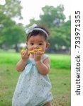 asian adorable baby girl... | Shutterstock . vector #733971355