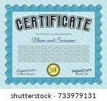 light blue certificate template.... | Shutterstock .eps vector #733979131