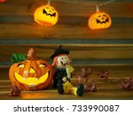 halloween day  pumpkin doll ... | Shutterstock . vector #733990087