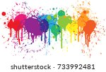 bright rainbow of dripping... | Shutterstock .eps vector #733992481