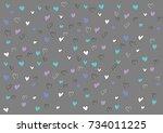 cute heart love on gray... | Shutterstock .eps vector #734011225
