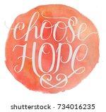 hand lettering choose hope.... | Shutterstock . vector #734016235