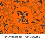 trick or treat halloween... | Shutterstock .eps vector #734030251