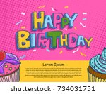vector of hand drawn happy... | Shutterstock .eps vector #734031751