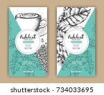 sketch drawing art for coffee... | Shutterstock .eps vector #734033695