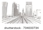 sketch of duba metro track in... | Shutterstock .eps vector #734033734