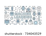 machine learning algorithm... | Shutterstock .eps vector #734043529