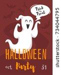 vector cartoon style halloween... | Shutterstock .eps vector #734044795