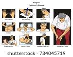 symptoms of parkinson s disease ... | Shutterstock .eps vector #734045719