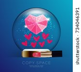 souvenir valentine snowball...   Shutterstock .eps vector #734046391