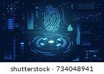 abstract technology ui... | Shutterstock .eps vector #734048941