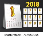 complete set of 12 months  2018 ... | Shutterstock .eps vector #734050255