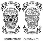 day of the dead. dia de los... | Shutterstock . vector #734057374