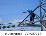 working at height power lines... | Shutterstock . vector #734057797