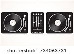 simple black and white dj... | Shutterstock .eps vector #734063731